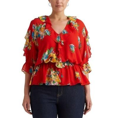 ラルフローレン カットソー トップス レディース Plus Size Floral Peplum Top Bright Hibiscus Multi