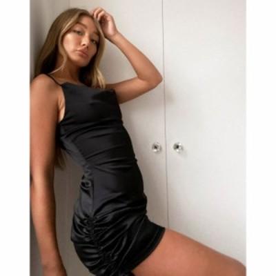 ユニーク21 UNIQUE21 レディース ワンピース ワンピース・ドレス Unique21 Gathered Side Satin Dress In Black ブラック