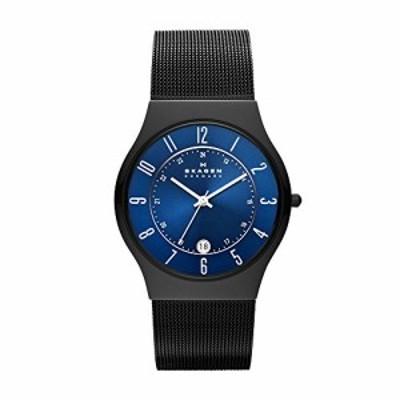 スカーゲン メンズ腕時計 Skagen Men's Grenen Analog-Quartz Watch with Stainless-Steel Strap, Black, 22 (Model: T233XLTMN)