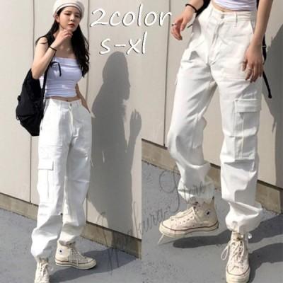 カーゴパンツ レディース ハイウエスト ストレートパンツ BF風 原宿風 ヒップホップ ダンス衣装 HIPHOP 韓国ファッション カジュアル ゆるい ストリート風
