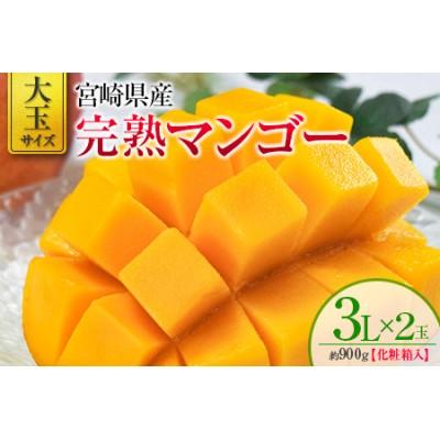 <大玉サイズ>宮崎県産 完熟マンゴー 3L×2玉 化粧箱入り※2022年4月中旬から順次出荷【D97】
