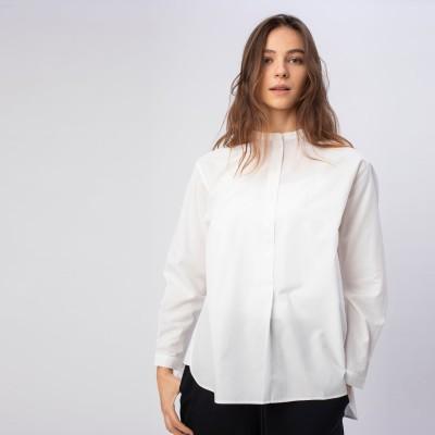 ラコステ LACOSTE スタンドカラープルオーバーシャツ (ホワイト)