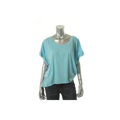 海外セレクション トップス ブラウス  Fresh Laundry 5322 レディース ブルー Modal Blend Scoop Neck Tシャツ Top L BHFO