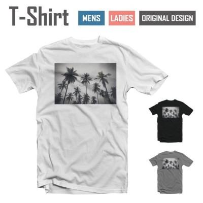 Tシャツ メンズ レディース 半袖 おしゃれ ブラック ホワイト グレー 綿100% カジュアル 太陽 SUMMER ヤシの木 かわいい