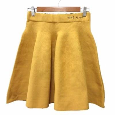 【中古】トゥービーバイアニエスベー To b. by agnes b. フレアスカート ミニ 刺繍 38 黄色 イエロー /MN レディース