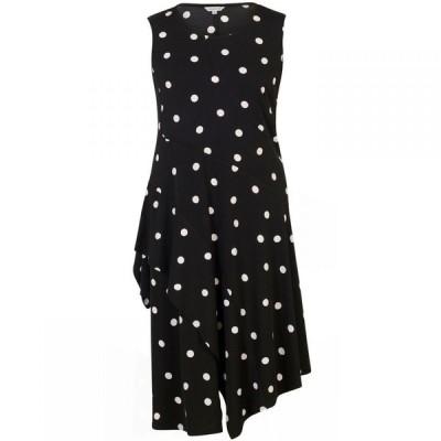 チェスカ Chesca レディース ワンピース ワンピース・ドレス Spot Print Jersey Dress With Flounce Trim Black & Ivory