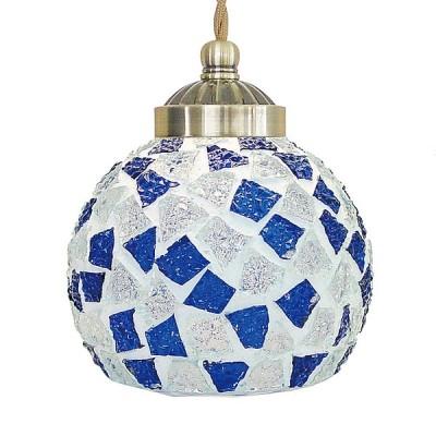 《モザイクガラスから漏れる光が美しい》イシグロ モザイクペンダントライトS ヴェトゥライ ブルー ブラックコード21274