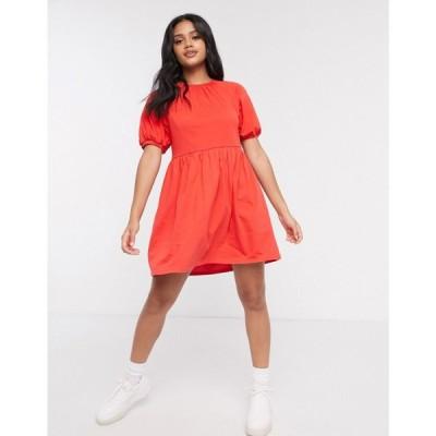 エイソス ASOS DESIGN レディース ワンピース ミニ丈 ワンピース・ドレス mini smock dress with gathered neck in red レッド