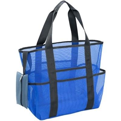 ビーチバッグ メッシュバッグ トートバッグ 折りたたみ 大容量 防水 手提げ 多機能 ポケット付き 収納バッグ スポーツバッグ ショッピングバッグ 海