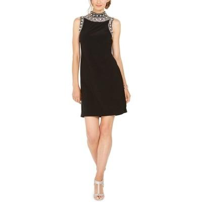 ミスク ワンピース トップス レディース Imitation Pearl-Embellished Mock-Neck Dress Black