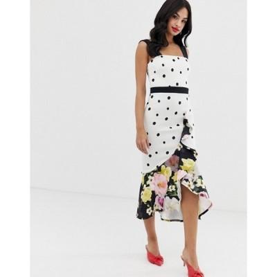 トゥルーバイオレット レディース ワンピース トップス True Violet exclusive frill front midi dress in mixed polka floral print