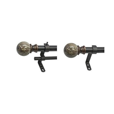 Decopolitan Marble Ball Double Telescoping Drapery Rod Set, 72 to 144-Inches, Brown & MARBLE BALL SINGLE CURTAIN ROD SET, 72 to 144 Inches,