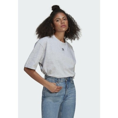 アディダスオリジナルス Tシャツ レディース トップス TEE - Basic T-shirt - light grey heather