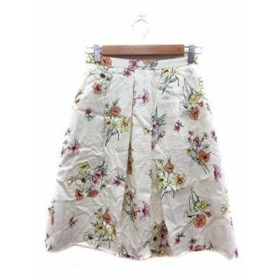 【中古】未使用品 ロペピクニック ROPE Picnic フレアスカート ひざ丈 花柄 36 白 クリーム /MN レディース