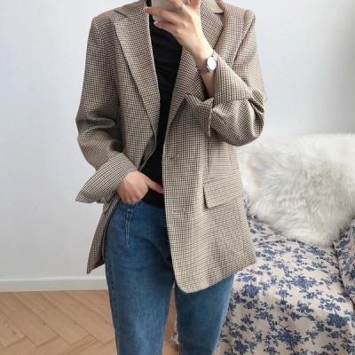 大人気 上品 コート チュニック丈 春 レディース トップス ポケット付き テーラード 千鳥格子柄 ボタン止め 体型カバー 秋 袖口スリット 40代 30代