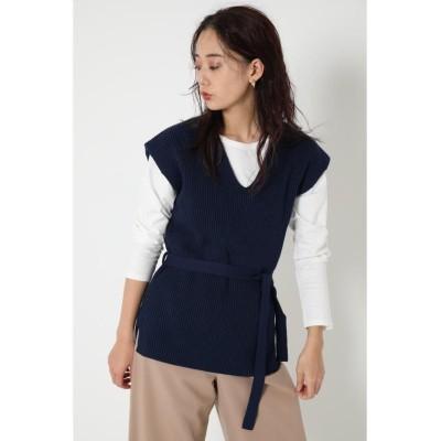【シェルターセレクト】 Vネックニットベスト(Vneck Knit Vest) レディース NVY FREE SHEL'TTER SELECT