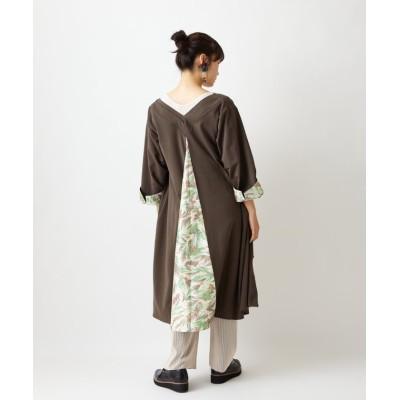 【ふりふ】 着物衿ワンピース レディース チャコール グレー FREE FURIFU