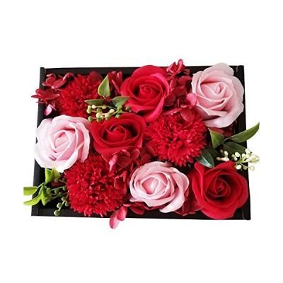 amife petit ソープフラワー レッド 母の日 花束 ギフトボックス 誕生日 記念日 プレゼント 約2014 (レッド)