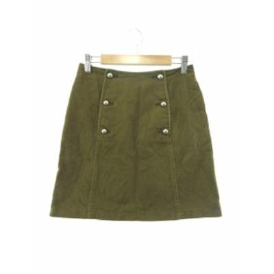 【中古】マウジー moussy スカート ミニ 台形 ボタンフライ 1 緑 グリーン /Y2I20 レディース