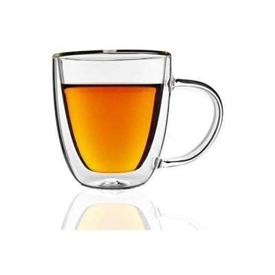 タンブラー-ダブルウォールグラス(2個セット)ギフトボックスセット、160mlコップ-ダブルウォールグラス、電子レンジOK 断熱 保温 保冷