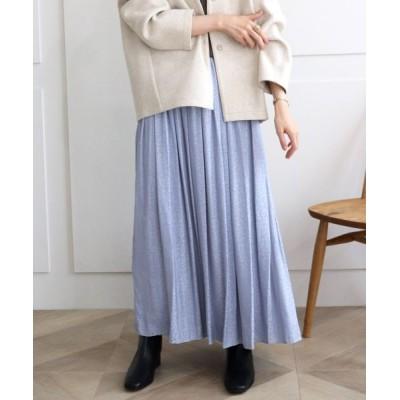 le.coeur blanc/ルクールブラン レオパードジャカードギャザースカート サックス柄 38