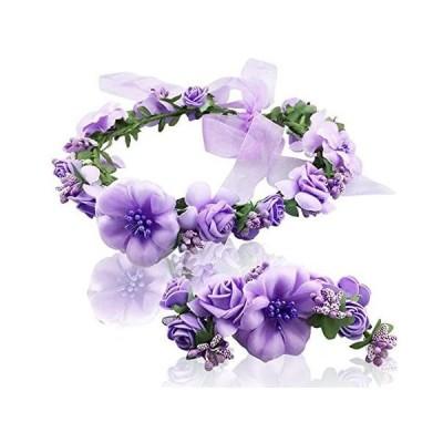 新婦人 花冠 腕輪 2点セット 花かんむり 髪飾り ウェディング 小物 ヘアアクセサリー ブライダル ヘッドドレス 花嫁 発表会 花 (パープル)