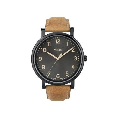 タイメックス 腕時計 メンズ モダンイージーリーダー TIMEX レザー ブラック/ベージュ