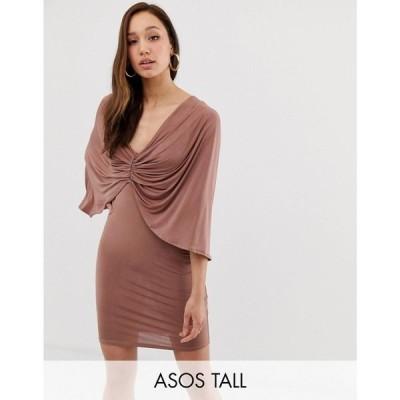 エイソス ASOS Tall レディース ワンピース ミニ丈 ワンピース・ドレス Tall kimono sleeve drape knot back mini dress モカ