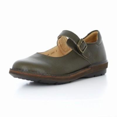 送料無料 ムーンスター レディース コンフォートシューズ SLワンベルト01 カーキ 国産 革靴 ライフスタイルカジュアル