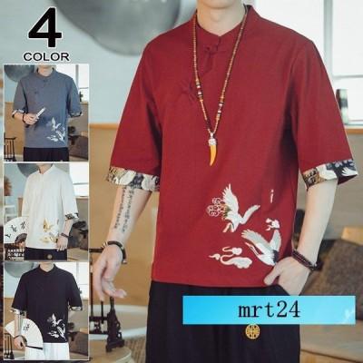 Tシャツ メンズ 綿麻Tシャツ カットソー 五分袖Tシャツ 紐 Vネック カジュアル おしゃれ 大きいサイズ 2021夏 鶴柄