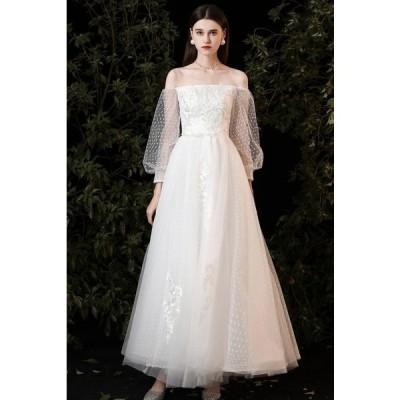 ウエディングドレス 白 ロングドレス 結婚式 花嫁 二次会 ドレス ウェディングドレス 袖あり オフショルダー Aライン 大きいサイズ 3L 小さいサイズ