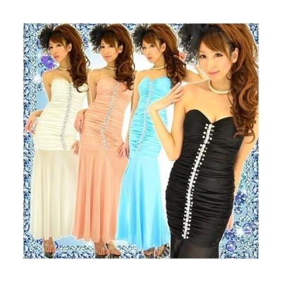 Dress Angelo キャバ ドレス キャバドレス ナイトドレス パーティードレスセンタークリアビジューラインシャーリングストレッチサテンロング