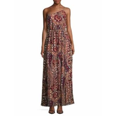 オートヒッピー レディース ワンピース Asymmetric Neckline Floral Print Silk-Blend Gown