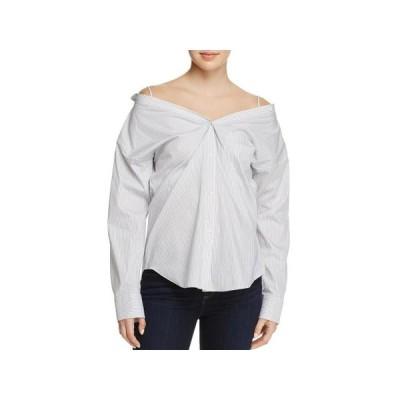レディース 衣類 トップス Theory Womens Tamalee Off-The-Shoulder Striped Button-Down Top B/W M ブラウス&シャツ