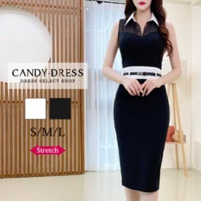 【予約】S/M/L 送料無料 Luxury Dress ストレッチ無地×シフォン切り替え襟デザインノースリーブタイトミディドレス SN210507 韓国製 膝