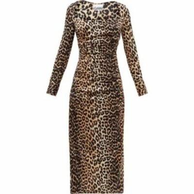 ガニー Ganni レディース パーティードレス ワンピース・ドレス Gathered leopard-print silk-blend satin dress Brown