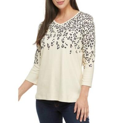 キム ロジャース レディース Tシャツ トップス Women's 3/4 Sleeve Placement Leopard Print Top