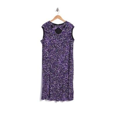 ロンドンタイムス レディース ワンピース トップス Festive Dot Jersey Fit Flare Dress BLACK/BLUE