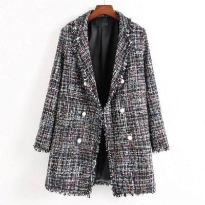 ジャケット パール ボタン テーラード ツイード コート     JK-0008