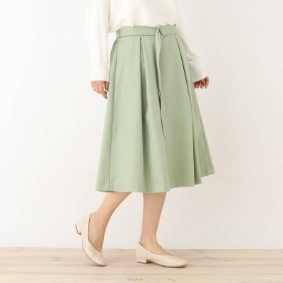 シューラルー SHOO-LA-RUE 前タック共ベルト付スカート (ライトグリーン)
