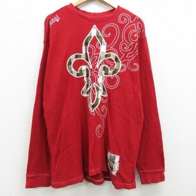 XL/古着 長袖 サーマル Tシャツ クージー COOGI 刺繍 大きいサイズ コットン クルーネック 赤 レッド 21jan22 中古 メンズ