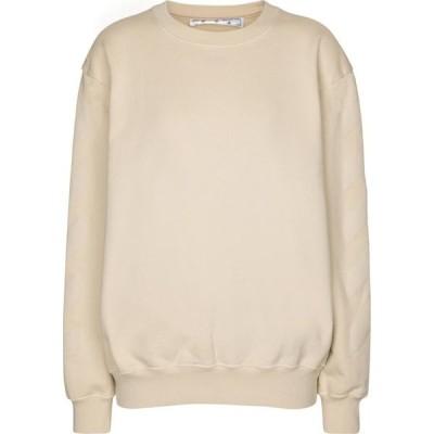 オフホワイト Off-White レディース スウェット・トレーナー トップス logo cotton jersey sweatshirt Beige