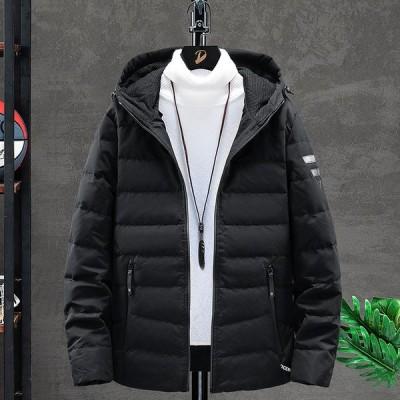 ジャケット メンズ ダウンジャケット アウター フード付き キルティング ダウンコート 無地 3色 ダックダウン 冬服 保温 防寒 ジップアップ