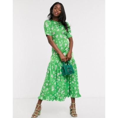 ネバーフリードレス マキシドレス レディース Never Fully Dressed short sleeve tiered ruffle hem maxi dress in green floral エイソス ASOS グリーン 緑