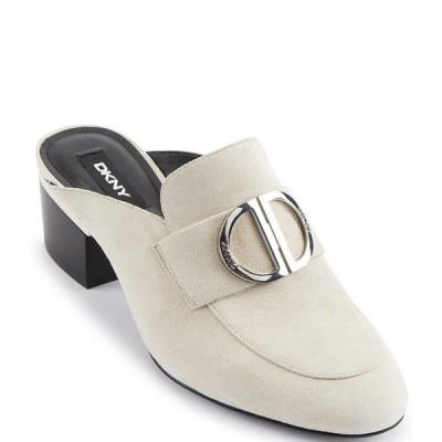 ダナ キャラン ニューヨーク レディース サンダル シューズ Rizz Suede Logo Hardware Strap Block Heel Mules Vanilla