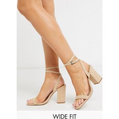 ロンドン レーベル London Rebel レディース サンダル・ミュール シューズ・靴 wide fit block heel sandals in beige ベージュ
