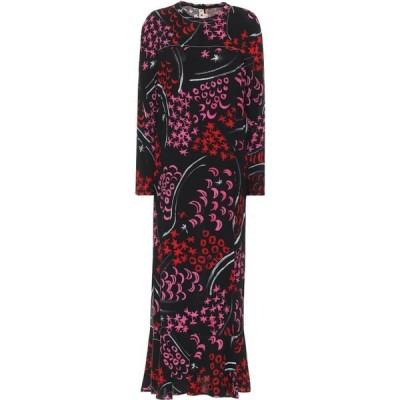 マルニ Marni レディース ワンピース ミドル丈 ワンピース・ドレス Printed Crepe Midi Dress Black