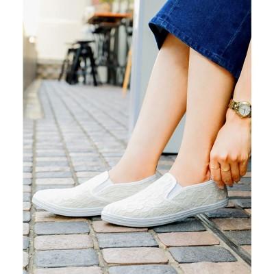 ファッションレター Fashion Letter カジュアル スリッポンスニーカー (レースホワイト)