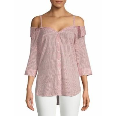 サックスフィフスアベニュー レディース トップス シャツ Mella Stripe Cold-Shoulder Cotton Button-Down Shi
