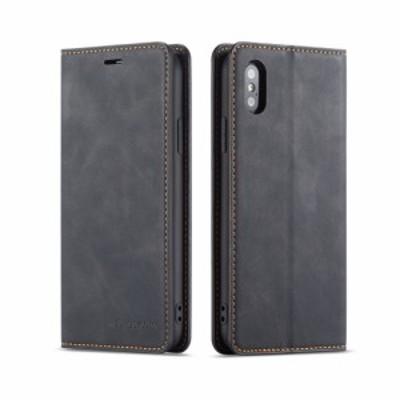 iPhone XS X レザーケース グレー アイフォンXS テン エス カバー 手帳型 スタンド機能付き 財布 カードスロット